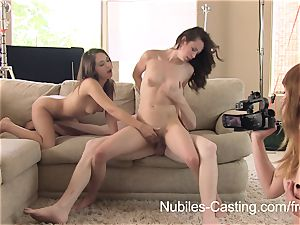 Nubiles audition - An unexpected three way for nubile