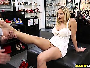 Olivia Austin pulverizes the foot fetishist store clerk for a discount