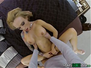 anguish or sheer pleasure for super-naughty blondie babe Sarah Jessie boinked in her killer cunt point of view style