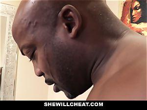 SheWillCheat - cuckold wifey penetrates big black cock in bathroom