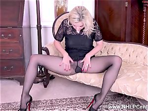 blonde gets out large funbags rips open her sheer stocking