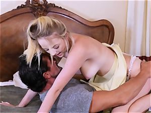 Taboo nubile railing senior man in mischievous duo