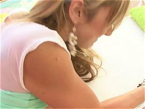 Amy Brooke is a blond tart who likes prick