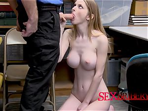 Nadya Nabakova is caught stealing by naughty officer with meaty salami