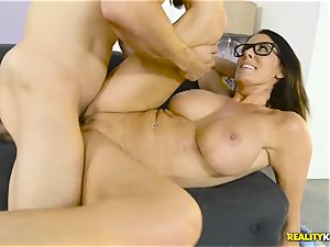 Mature enormous boobies housewife Reagan Foxx seduces her kinky stepson
