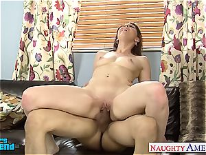 naughty Nickey Huntsman tongued out before fellating and drilling