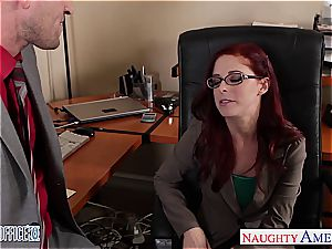 red-haired sweetheart in glasses Penny Pax plumb in the office