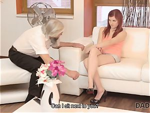DADDY4K. filthy guy fingers girlfriend for hotwife on him with wild parent