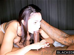 BLACKEDRAW mischievous brown-haired wifey luvs dark-hued bone in her motel apartment