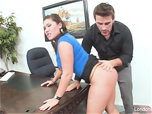 chinese sweetie London Keyes gets an office pulverize