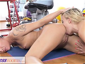 sport rooms milf gym lecturer perspiring trib orgy session