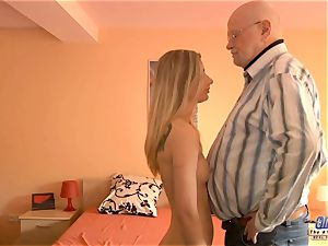 young secretary pulverizes elder man manager tears up wondrous gal