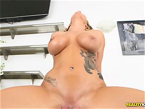 Bruce and his stiff lollipop dive into the cooch of Cali Carter
