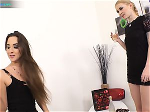excellent sweetie Amirah Adara and tatted damsel Misha Cross plays with their fake penises