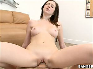 Victoria Voss slips her wet slit down his rock hard weenie