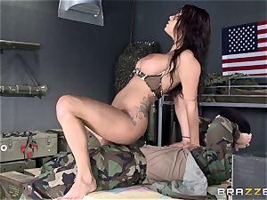 Soldier ravages huge-boobed gorgeous nurse Peta Jensen after battle