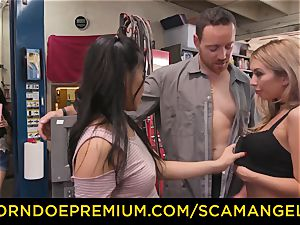 SCAM ANGELS - Blackmail threeway fucky-fucky with naughty stunners
