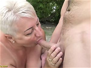 sixty-nine years aged bbw grandma outdoor penetrated
