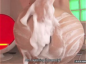 enticing Karin Kusunoki pleases spear with her unshaved coochie