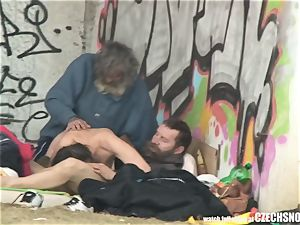 Homeless 3 way Having fucky-fucky on Public