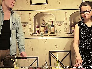 Nerdy doll seduced by Russian guy