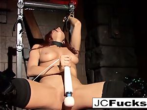 corded ultra-cutie satisfies herself while still shackled up