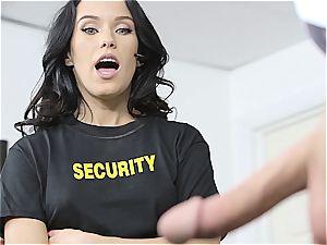 petite bouncer Megan Rain studies client's pants for concealed weapon