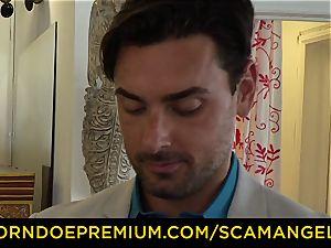 SCAM ANGELS - yankee honies ravage fuck guy in super-hot FFM