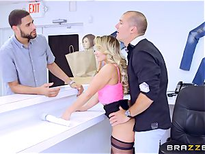 Smoking steaming ash-blonde Cali Carter riding meatpipe