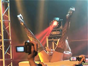 chesty milf lapdance on stage