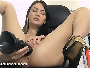 smallish Belle Claire pussy spreading with brutish fuck stick