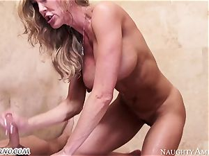 huge-chested mummy Brandi love with yam-sized hooters tempts her stepson in the bathroom