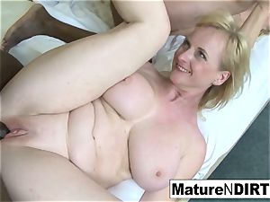 two platinum-blonde grandmothers have an interracial 4 way