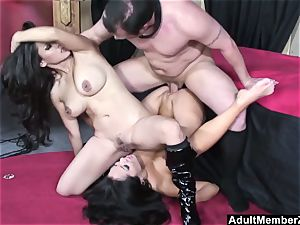fortunate stud threeway with chinese dommes