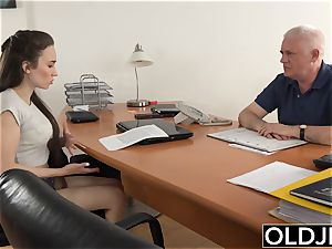 chick screwed by aged man Office deep-throat dt