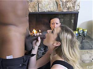 dark-hued man bangs his boss slutty wifey Dahlia Sky
