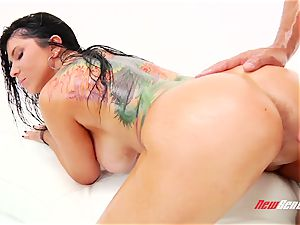 super-naughty sultry mexican porn star Romi Rain gets her thick lubed cupcakes titfucked