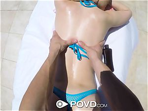 POVD Outdoor pulverize and facial cumshot for platinum-blonde Alexa mercy