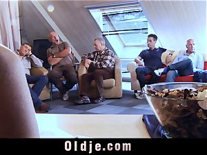 6 oldman smashing in gang a stunning super hot blond