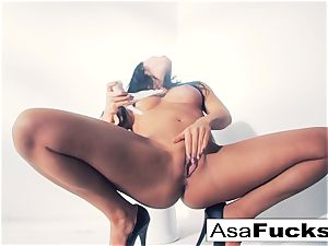 Asa Akira uses a fake forearm to sate her cooch