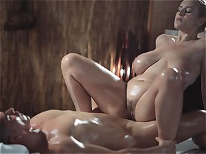 massage rooms sumptuous cougar with gigantic natural globes