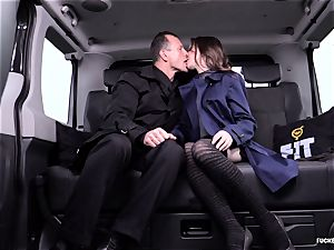 plowed IN TRAFFIC - cool Czech babe smashes in the car