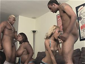 babes Angel Marie & Skyy ebony deepthroat on these rods