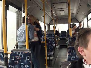 Lindsey Olsen porks her boy on a public bus