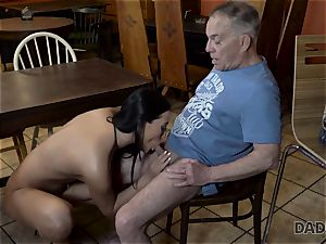 DADDY4K. Angry fellow catches older parent tearing up his good-looking damsel