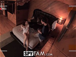 SPYFAM curious Step sister drools over shaft pics