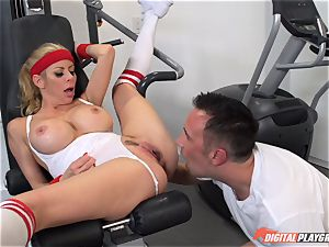 super-steamy mummy Alexis Fawx deepthroating pecker at the gym