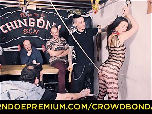 CROWD restrain bondage - Tiffany woman gets slapped in domination & submission smash