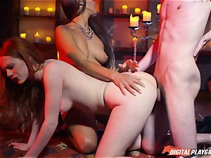 jizz swallowing 3some with uber-sexy Ella Hughes and gorgeous honey Mea Melone