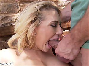 obscene big-boobed light-haired Kagney Linn Karter gets boned outdoor